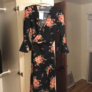 ASOS black floral wrap dress!